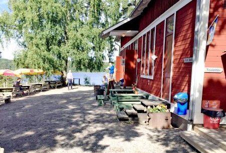 shack near a lake
